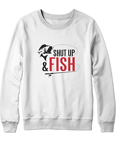 HYPSHRT Hombre Sweatshirt Fishing Shut up and Fish H000066 Blanco L