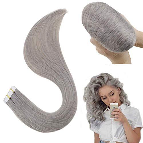 Hetto Tape Extension Virgin Echthaar Brasilianer 22 Zoll #Silver Color 50G 20 Pcs Unbehandelt Glatt Skin Weft Haar