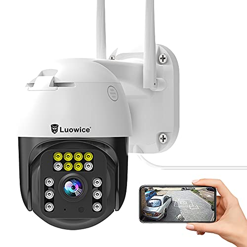Luowice PTZ Security Camera Outdoor 5MP FHD WiFi IP Camera with Humaniod Detection, Auto Tracking, Color Night Vision, Pan and Tilt, Two Way Talk, Floodlight and Siren, Waterproof