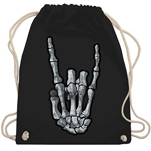 Shirtracer Metal - Metal Horns Skelett Hand - Unisize - Schwarz - turnbeutel schwarz, metal - WM110 - Turnbeutel und Stoffbeutel aus Baumwolle