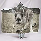 Clubdeer Animal Kangaroo Hooded Blanket Wearable Oversized Soft Blanket for Kids&Adults for Travel Gifts for Friends White 60x80 inch