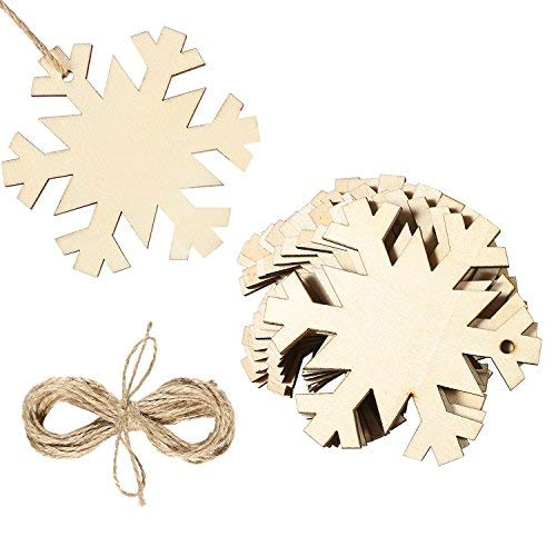 20-Piece Wooden Snowflake Ornaments