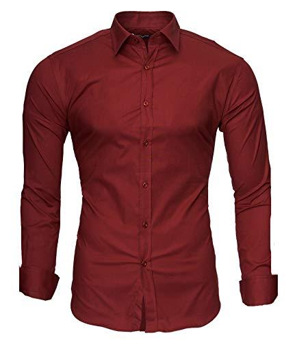 Kayhan langarmhemd A.L.T Hombre Camisa Slim fit, Wine XL
