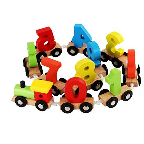 TOYANDONA Baby Nachziehspielzeug Holzzug Nachziehzug Nachziehauto Holz Eisenbahn Bausteine Montessori Zahlen Zug Push Pull Spielzeug Holzspielzeug zum Ziehen Lauflernhilfe für Kinder