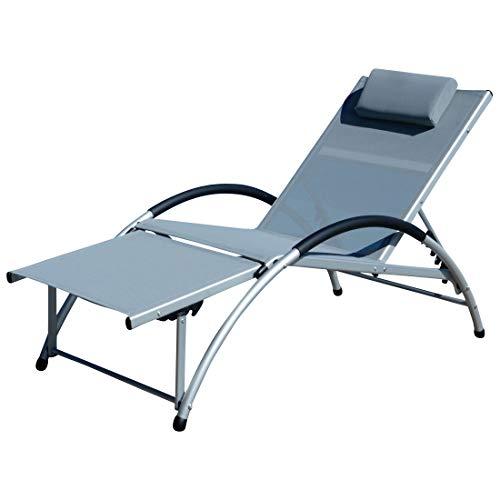 ASS Gartenliege Sonnenliege Fitnessliege Bauchmuskeltrainer stabile Aluminium Konstruktion mit atmungsaktiven Kunststoffgewebe und Kopfpolster, Farbe:Grau