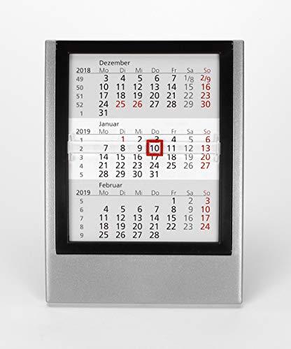 HiCuCo 3-Monats-Tischkalender für 2 Jahre (2022 und 2023) - Aufstellkalender - mit aufklappbarem Frontrahmen - silber/schwarz - TypW2