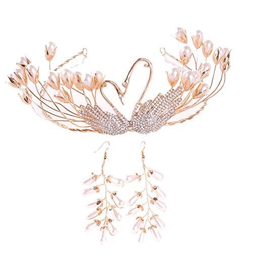 Sasecht Exquisite Schwan Rhinestone-Perlen-Kronen-Ohrringe Set Brautkleid Accessoires Kopfschmuck (Color : Gold)