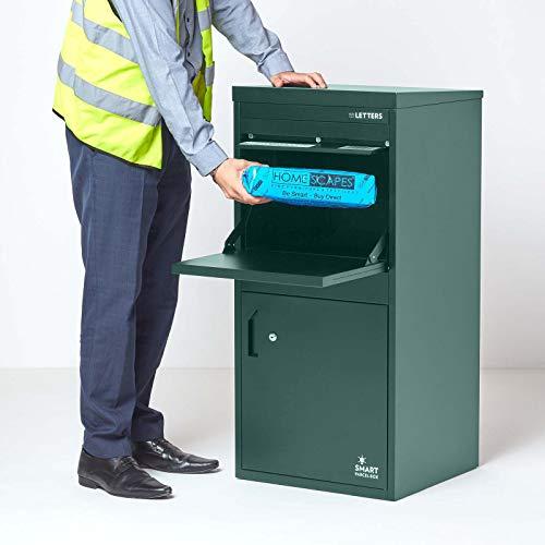 Extra große Smart Parcel Box, Paketbriefkasten für alle Zustelldienste mit Paketfach und Briefkasten, sichere Paketbox mit Rückholsperre, Entnahme hinten & vorne, 485 x 455 x 1025 mm, grün