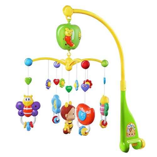 GrowthPic Musical Mobile Baby Crib Mobile with Hanging Rotating Toys and Music Box, Green