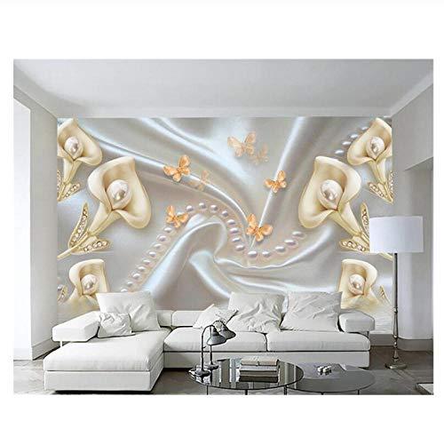 Lovemq Room Living Room Decoration 3D Wallpaper Calla Lily Jewelry Diamond Flower Pearl Tv Wall Wallpaper Papier Peint-400X280Cm