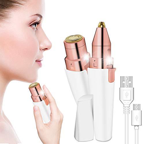 Gesichts Haarentferner, 2 in 1 Trimmer für Frauen Augenbrauentrimmer USB Epilierer Schmerzlos Makellos Eingebautem LED-Licht Elektrischer Rasierer Gesichtshaarentferner Tragbarer für Kinnbacken Lippen