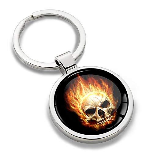 Biomar Labs® 3D Metalen Vlam Vuur Schedel Sleutelhanger Sleutelhanger Accessoires Mannen Vrouwen Sleutelhanger Gift KK 176