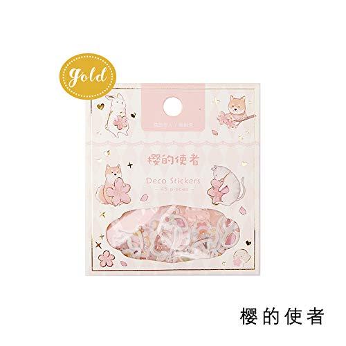 YFB Frische Kirschblüte Vergoldung und Papier Sticker Pack handbemalte niedliche Tier DIY Hand Konto Aufkleber Kirsche Messenger