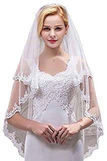 Women's Bridal Tulle Veils with Comb Lace Edge Wedding Veils for Bride,White (B07FS3TGMS) | Amazon price tracker / tracking, Amazon price history charts, Amazon price watches, Amazon price drop alerts