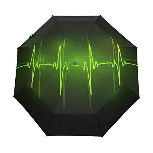 Paraguas de Viaje pequeño a Prueba de Viento al Aire Libre Lluvia Sol UV Auto Compacto 3 Pliegues Cubierta de Paraguas - Ondas de Radio vivas