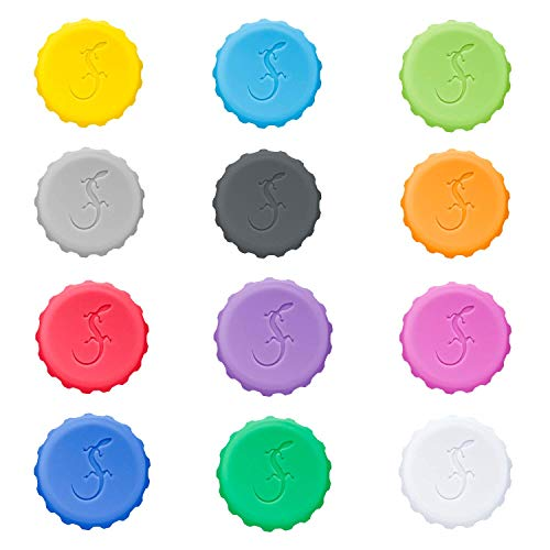 Lurch 210228 Kronkorken Set, 12 verschiedene Farben, aus 100% BPA-freiem Platin Silikon
