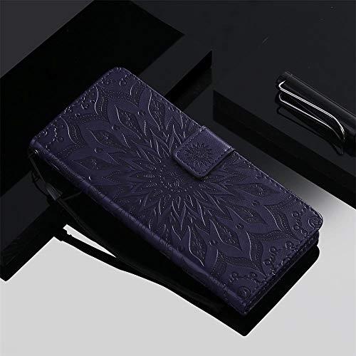 Qiaogle Teléfono Case para LG G3 Mini/LG G3s - Sun Flower Embossing Funda de PU Cuero Billetera Clamshell Carcasa Cover (Púrpura)