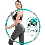 Aro de hula hoop para adultos, 8 segmentos, aro de hula hoop, aro de acero inoxidable, aro para fitness, pérdida de peso, con mini banda de tensión