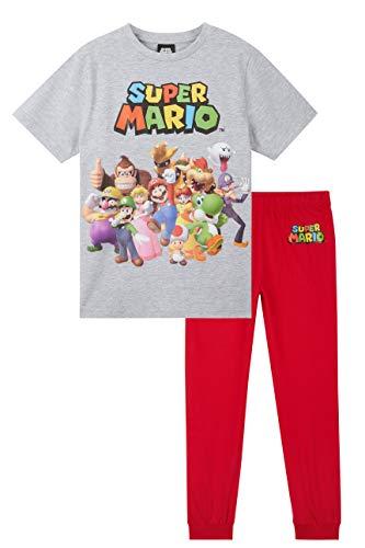 Super Mario Pijama Niño, Pijamas Niños de Algodón con Camiseta Manga Corta y Pantalon Largo, Merchandising Oficial Mario Bros, Regalos Cumpleaños Niños (Gris, 5-6 años)