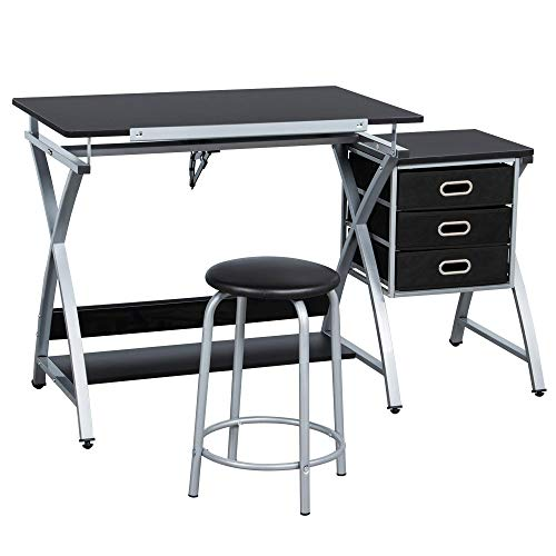 Yaheetech Tiltable Tabletop DrawingTable Art Craft Drafting Table With storage and PU Stool