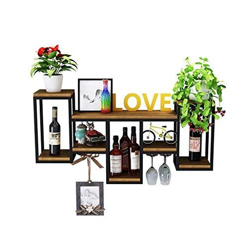 ZGYQGOO - Estante para vino, madera maciza, hierro forjado, colgador de pared, decoración creativa, estante para colocar encima de la mesa, copa de vino, estante (negro)