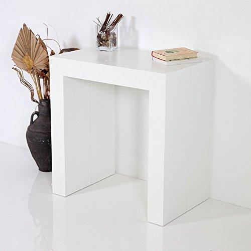 Group Design Tavolo Consolle Allungabile Made in Italy Inside Bianco Poro Aperto Moderna 14 Posti