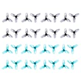 HQProp 32pcs 31mm 3-Blade Props with 1.0 mm Shaft Micro Whoop Drone Propellers for Tiny Whoop FPV Racing Whoop Like iFlight A65 Quadcopter(Grey and Transparent Blue)
