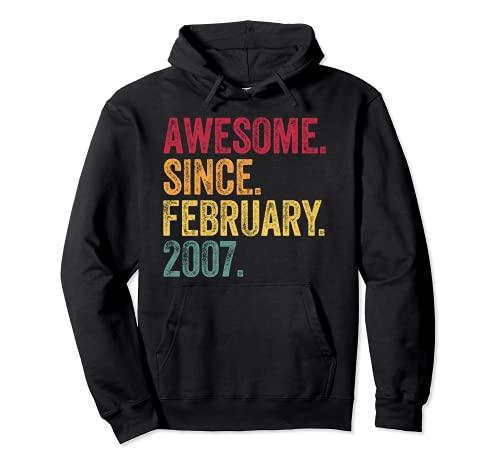 Impresionante desde febrero de 2007 14 años de edad regalo de cumpleaños Sudadera con Capucha
