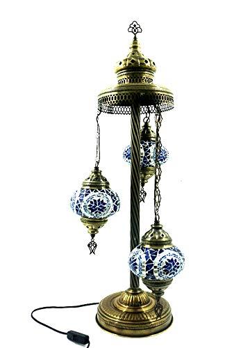 Orientalische Türkische Tiffany Glasmosaik Turkish Asiatisch Handgefertigte Mosaik Glas Boden Lampe Innenleuchte Orientalische Lampe Glas Stehlampe Bodenlampe 3 Lichter Glasgröße 2 (Blau-Silber)