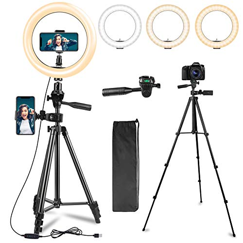 LED Ring Light 10.2' with 51' Camera Tripod Stand & Flexible Phone Holder for Selfie/Photography/Makeup/Live Stream/TiK ToK, Dimmable Beauty Ringlight with 3 Color Modes,10 Brightness