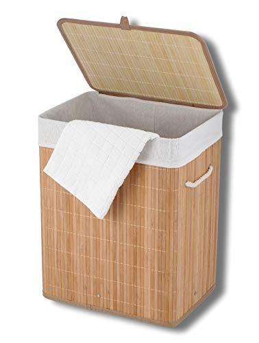 Cflagrant® Wäschekorb, faltbar, rechteckig, aus Bambus, 50 cm hoch, 50 x 40 x 30 cm, umweltfreundlich