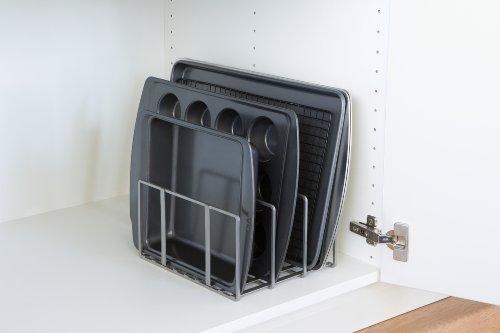 "Seville Classics Vertical Pan Lid Rack Kitchen Counter and Cabinet Organizer, 10"" W x 8.5"" D x 5"" H, Platinum"