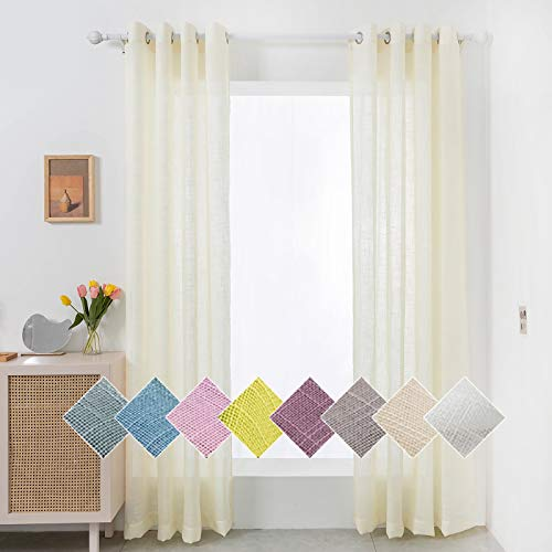 """Liiopoz Beige Linen Sheer Curtains 84 Inch Long Semi Sheer Curtains for Living Room, Grommet Window Treatment Curtains for Bedroom (52"""" W x 84"""" L, 2 Panels)"""