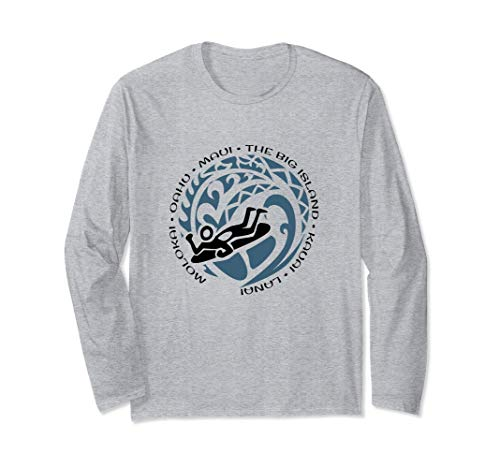 Hawaiian Islands Long Sleeve T Shirt Body Board Boogie Fans
