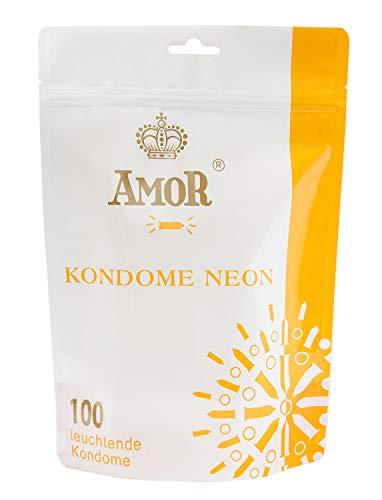 AMOR NEON 100er Pack Premium Kondome, Leuchtkondome, gefühlsecht und extra feucht