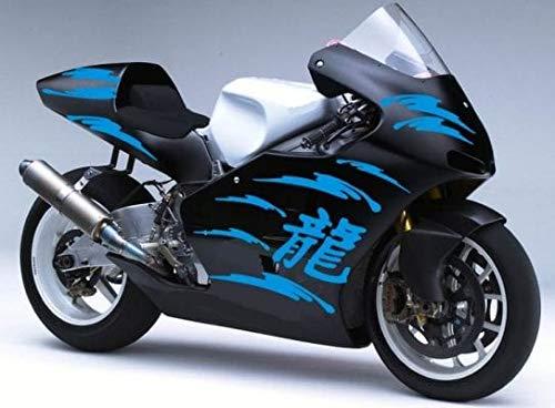 SUPERSTICKI Dekor Set Chinesische Zeichen Motorrad Aufkleber Bike Auto Racing Tuning aus Hochleistungsfolie Aufkleber Autoaufkleber Tuningaufkleber Hochleistungsfolie für alle glatten Fläch