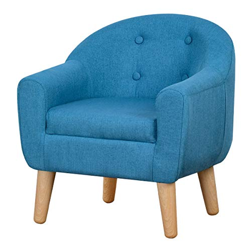 Babyland Single Kids Sofa Chair, Upholstered Linen Fabric Armchair with Plastic Legs for Toddlers (Blue)