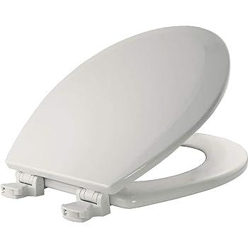 BEMIS 500EC 000 Toilet Seat with Easy Clean & Change Hinges, ROUND, Durable Enameled Wood, White