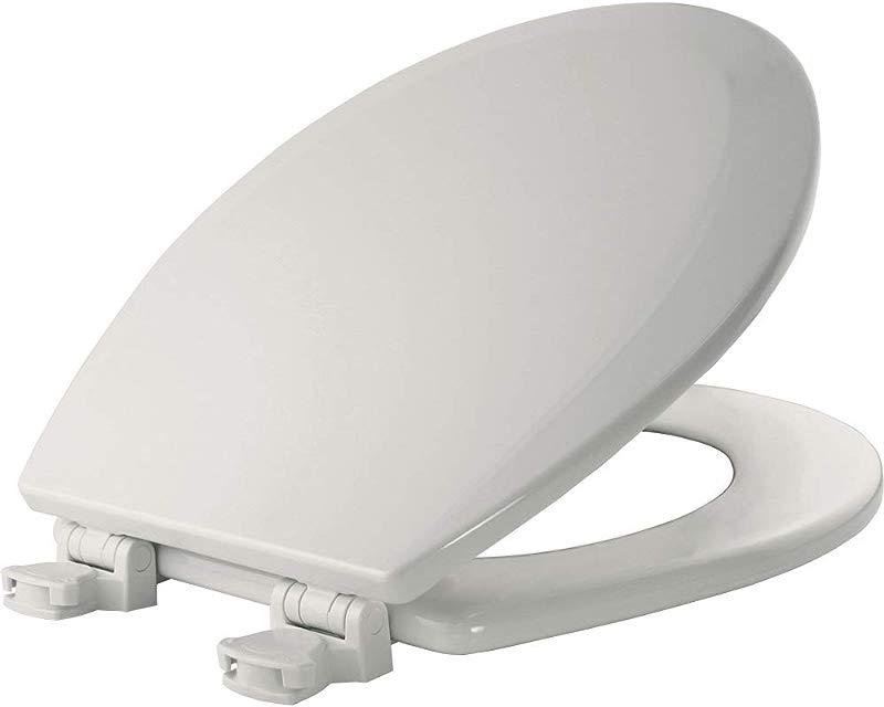 BEMIS 500EC 000 Toilet Seat With Easy Clean Change Hinges ROUND Durable Enameled Wood White