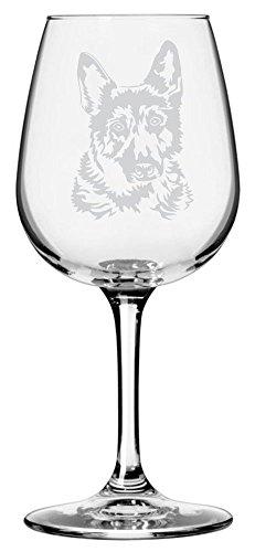 German Shepherd Etched Wine Glass