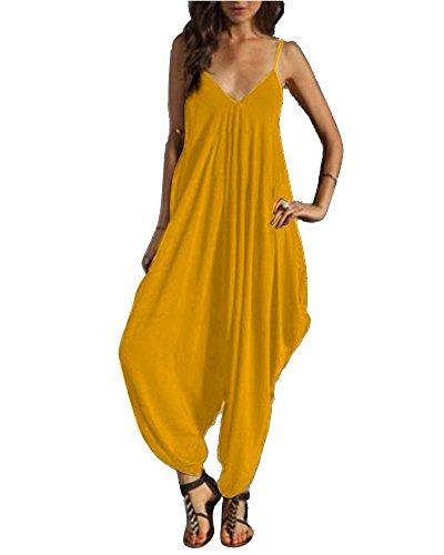 SaiDeng Tuta Harem Pantaloni Donna Elegante Estiva Baggy Strappy Pantaloncini Lunghi Jumpsuit Monopezzo Orange 2XL
