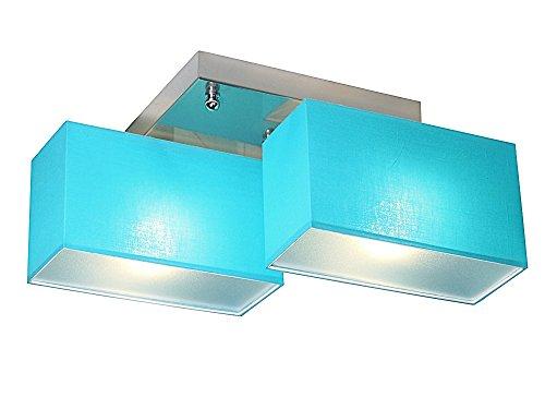 Deckenlampe - Wero Design Eris-003 C (Türkis) - Deckenleuchte, Leuchte, 2-flammig, Metall, Stoff, LAMPENSCHIRME MIT BLENDEN
