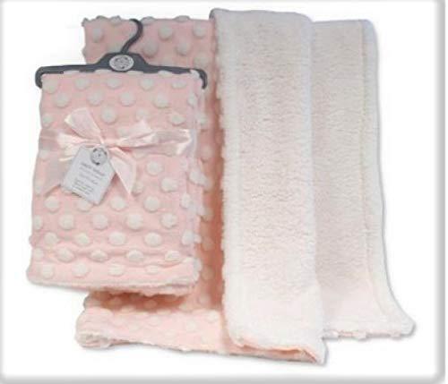 Snuggle Baby Tres Belle Couverture en Peluche pour Bebe Rose/Blanc 75 x 100cm