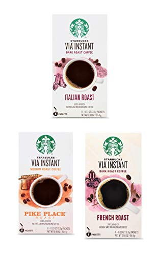 Starbucks Via Instant Coffee Variety Pack - Italian Roast, French Roast, and Pike Place - 24 Packets Total - 8 Packets Per Box - Bulk Starbucks Instant Coffee