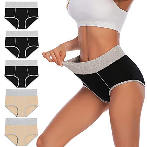YaShaer Damen Unterhosen Unterwäsche Baumwolle Taillenslip Hohe Taille Miederhose Mehrpack