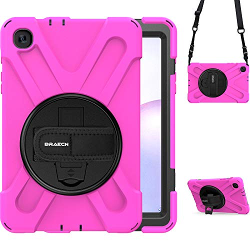 BRAECN Galaxy Tab A 8.4 2020 Case, SM-T307U Case, Heavy Duty Protective Hard Case with Handle Hand Strap, Carrying Shoulder Strap, Rotating Kickstand for Samsung Tab A 8.4 Inch SM-T307 2020 Model-Pink
