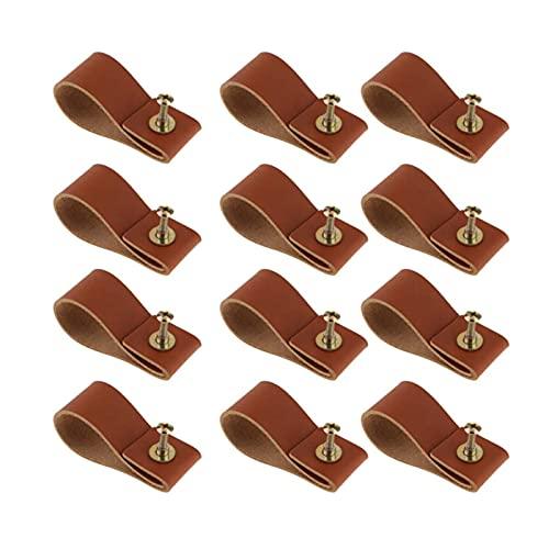 SZ-LY 12 Piezas De Perillas De Cuero Marrón, Manijas De Cajón De Gabinete De Cuero Hechas A Mano, con Tornillos, Reemplazo Perillas De Gabinete De Metal