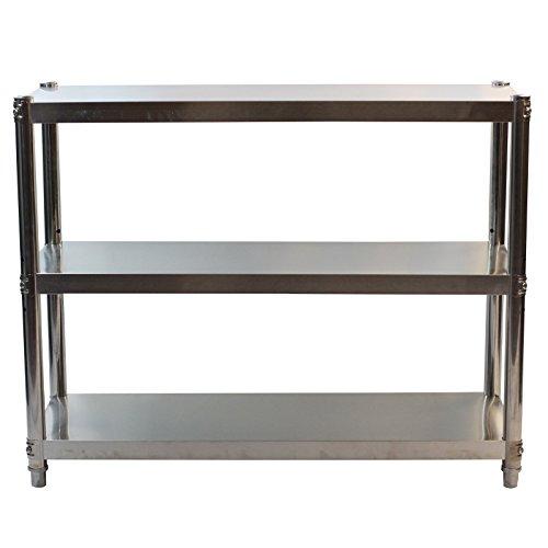 GOLDBEARUK Estantería de cocina de acero inoxidable – Solución de almacenamiento de cocina higiénica – 3 niveles (grande 100 x 80 cm)