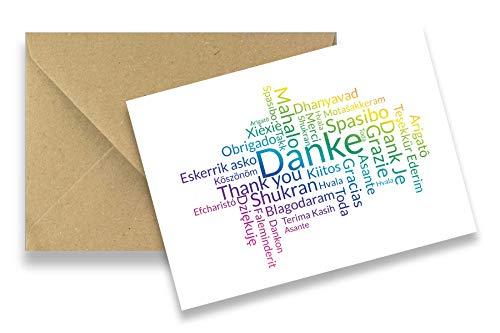 Friendly Fox Neu Dankeskarten - 12 Dankeschön Karten - Danke Word Cloud - Blanko Postkarten Danke Karten Set mit Umschlag, mit Karten Danke Sagen …
