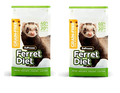 ZuPreem Premium Daily Grain Free Ferret Diet Food - Nutrient Dense, Highly Digestible, High Protein Levels (4 lb Bag (2-Pack))